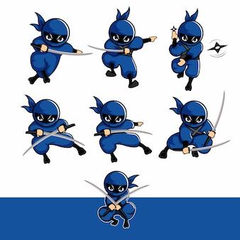 Blaue ninja-cartoon-sets mit schwert und dart