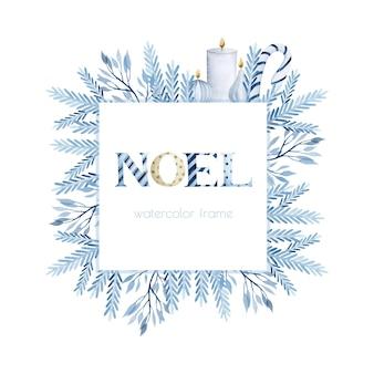 Blaue noel zweige und kerzen weihnachtsaquarellrahmen