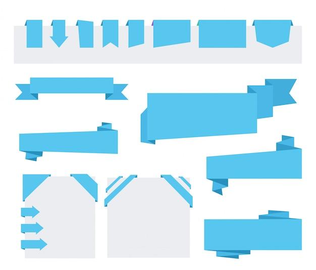 Blaue origami-papierbänder zum verkauf und zur werbung. flache designelemente. eckband