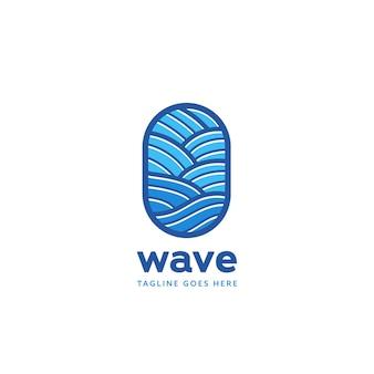 Blaue ozeanwellen-logo-abzeichen-icon-vorlage im monoline-stil-muster