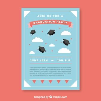 Blaue party-broschüre mit graduierung caps und wolken