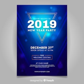Blaue partyfahne des neuen jahres 2019
