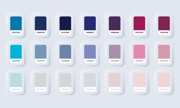 Blaue pastellfarbpalette. katalogmuster blau in rgb hex. farbkatalog. neumorphic ui ux weiße benutzeroberfläche web-schaltfläche. neumorphismus.