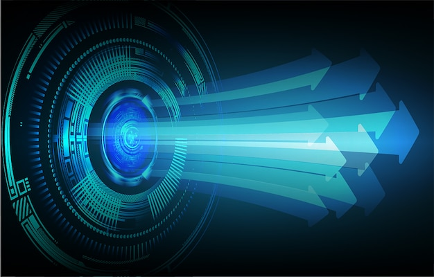 Blaue pfeil cyber-schaltung zukunftstechnologie
