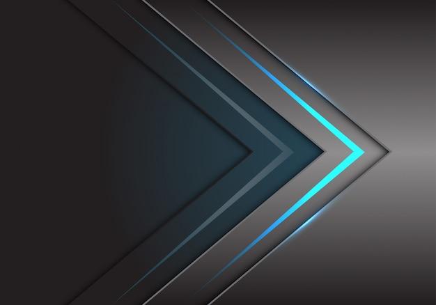 Blaue pfeillichtrichtung auf grauer metallischer technologie.