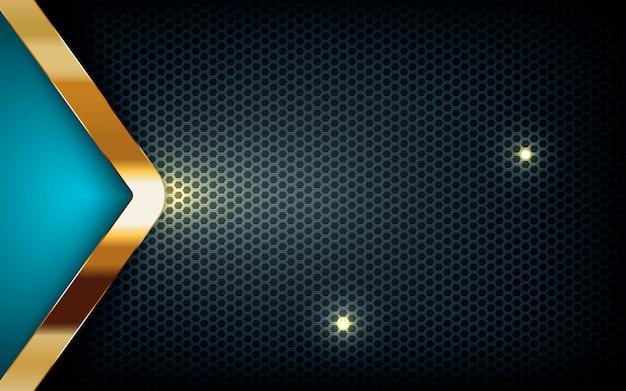 Blaue pfeilschicht auf dunklem hexagon mit goldener liste