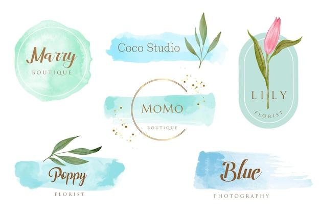 Blaue pinselstrich feminine logo-vorlage Premium Vektoren