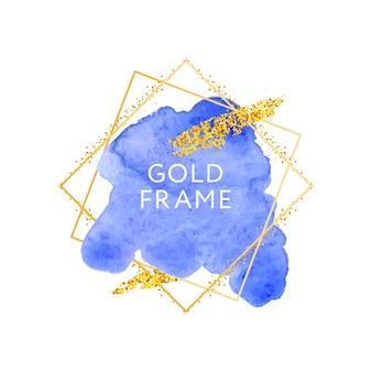 Blaue pinselstriche und goldener rahmen.