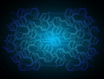 Blaue Platine Cyber-Sicherheitskonzept