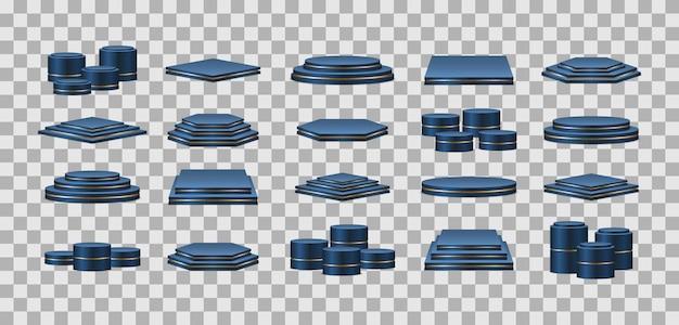 Blaue podestplätze. realistischer sockel für gewinner. sockel und plattform, standbühne, zylinder.
