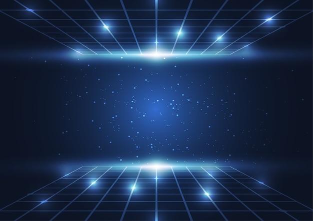 Blaue punkte der abstrakten digitaltechnik und linien hintergrund
