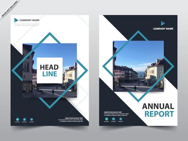 Blaue quadratische broschüre vorlage