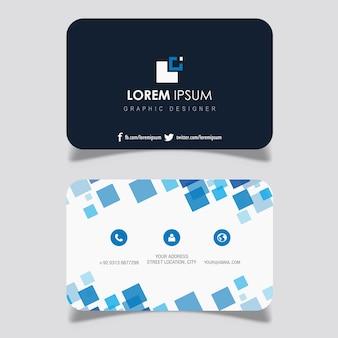 Blaue quadratische entwurfs-visitenkarte