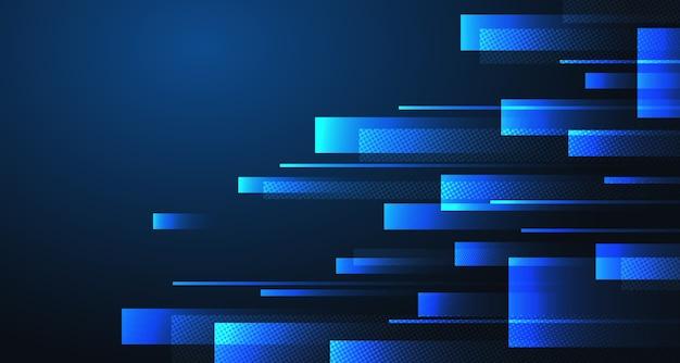 Blaue rechtecke der abstrakten technologie entwerfen designhintergrund