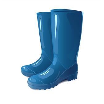 Blaue regenstiefel