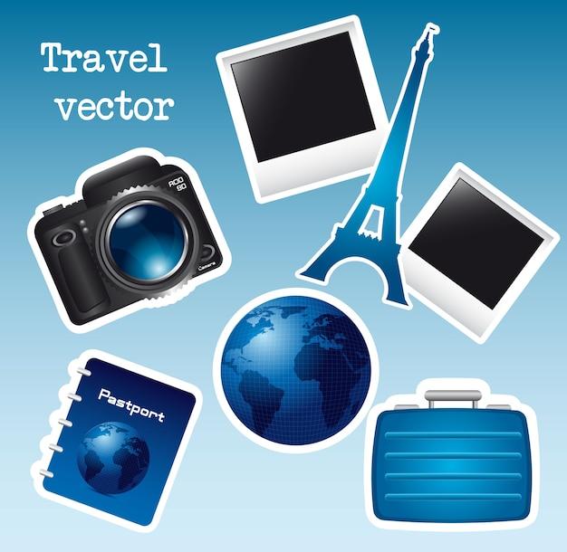 Blaue reiseikonen mit kamera eiffelturm