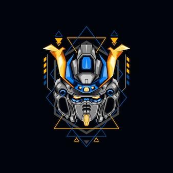 Blaue roboter-krieger-illustration