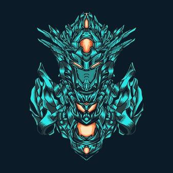Blaue roboterkämpferillustration