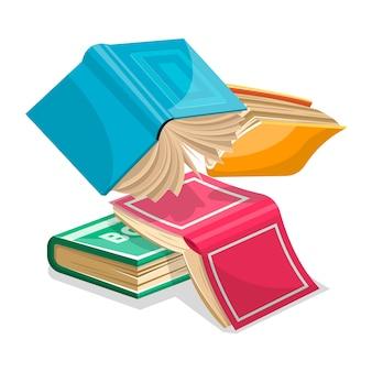 Blaue, rosa, grüne, gelbe dicke bücher fallen herunter oder fliegen. unnötiges zeug im haufenkonzept. überarbeitung für prüfungen in schule, hochschule, universität. karikaturillustration auf weiß.