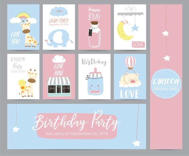 Blaue rosa pastellgrußkarte mit girafffe, café, mond, elefanten, stern und schwein