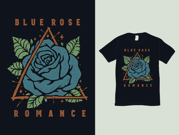 Blaue rose vintage tattoo t-shirt design