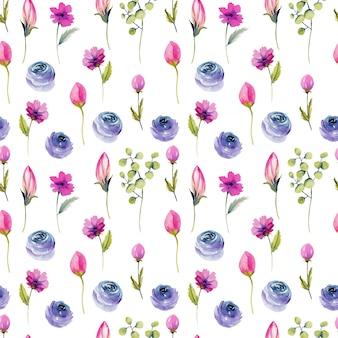 Blaue rosen des aquarells und nahtloses muster der rosa wildblumen