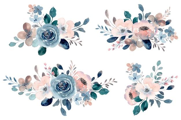 Blaue rosen- und pfirsichblumenstraußkollektion mit aquarell