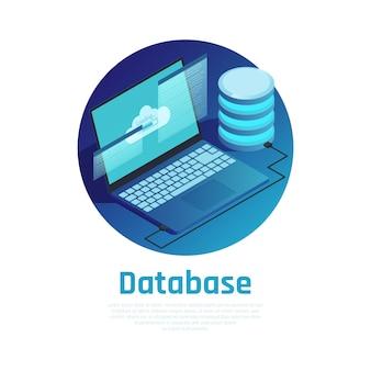 Blaue runde schablone der datenbank mit dem laptop angeschlossen an datenverarbeitungsnetz der wolke