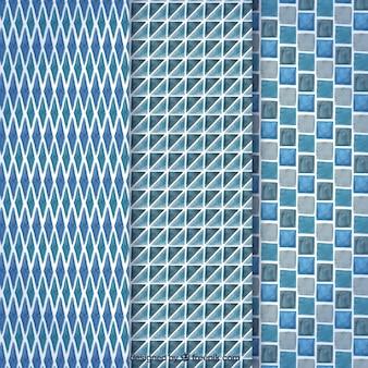 Blaue sammlung von gemetrischen mustern