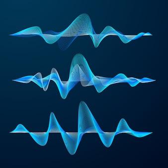Blaue schallwellen verfolgen design. satz von audiowellen. abstrakter equalizer.
