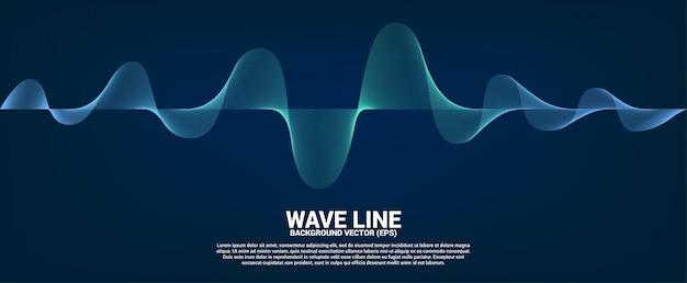 Blaue schallwellenlinie kurve auf dunklem hintergrund