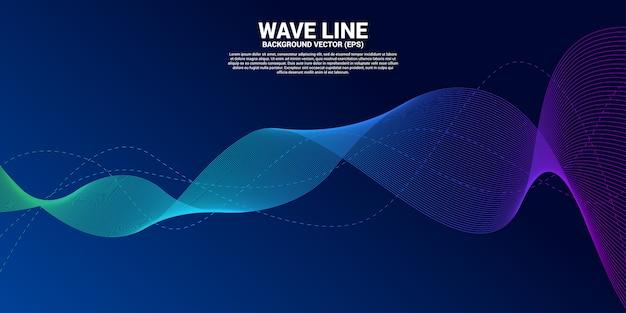 Blaue schallwellenlinie kurve auf dunklem hintergrund.