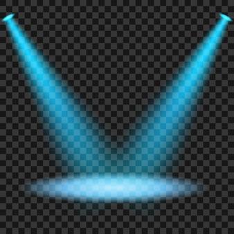 Blaue scheinwerfer, die auf transparentem hintergrund glänzen