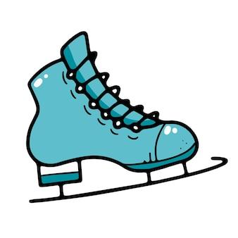 Blaue schlittschuhe mit schwarzen schlittschuhen im doodle-stil