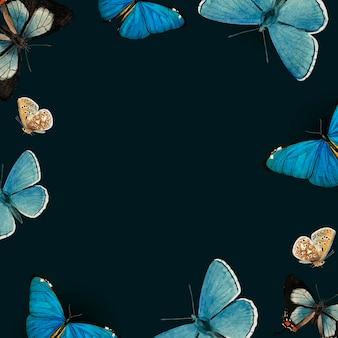 Blaue schmetterlinge auf schwarzem hintergrund gemustert