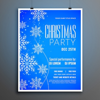 Blaue schneeflocken frohe weihnachten party flyer vorlage