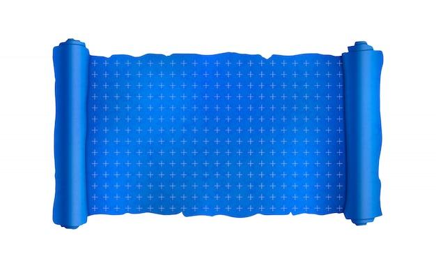 Blaue schriftrolle mit technischen markierungen, leere blaupause auf weiß