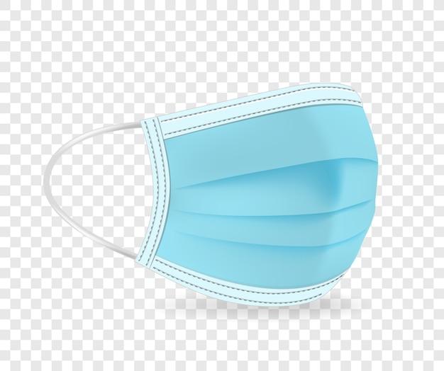 Blaue schützende gesichtsmaskenillustration lokalisiert auf transparentem hintergrund