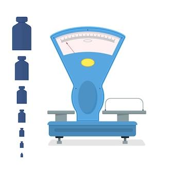 Blaue schuppen zu hause. küchengewichtsmaß für laden- und geschäftsdesign. flacher stil. hanteln mit unterschiedlichem gewicht. isoliert auf weißem hintergrund. vektor-illustration.