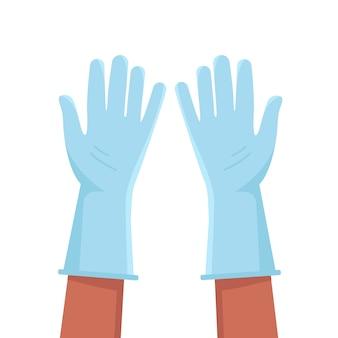 Blaue schutzhandschuhe abgebildet