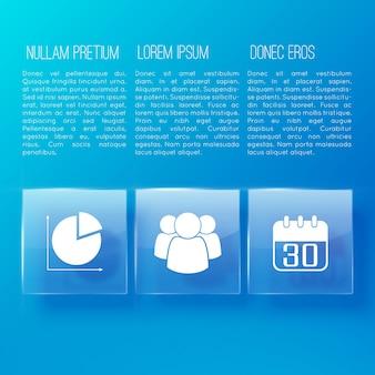 Blaue seite der geschäftspräsentation mit drei informationsspalten zum thema
