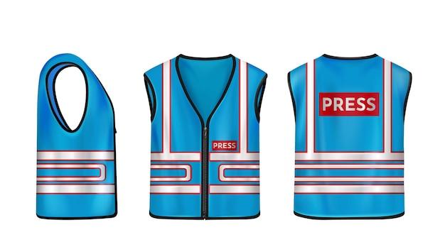 Blaue sicherheitsweste für presse mit reflexstreifen uniform für journalisten Kostenlosen Vektoren
