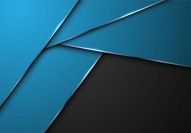 Blaue silberne linie polygonüberlappung auf blauem und schwarzem hintergrund.