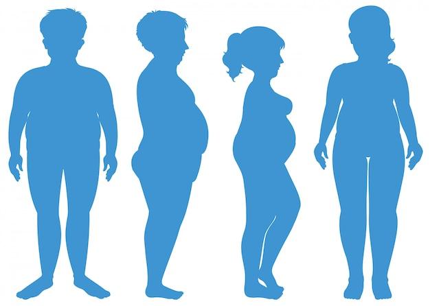 Blaue silhouette des übergewichtigen menschen