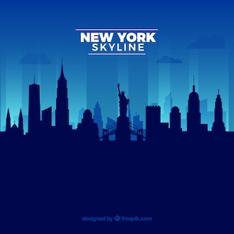 Blaue skyline von new york
