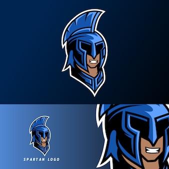 Blaue spartanische kriegermaskottchenspielsport-esport-logoschablone mit maske