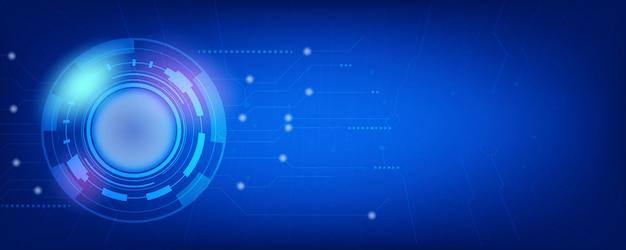 Blaue spitzentechnologie und moderner digitaler fahnenhintergrund