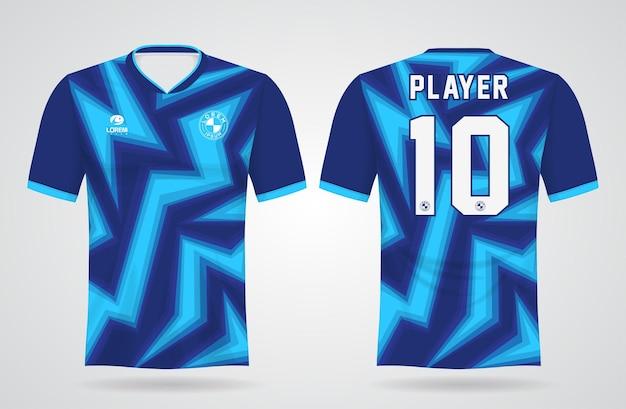 Blaue sporttrikotschablone für mannschaftsuniformen und fußball-t-shirt design