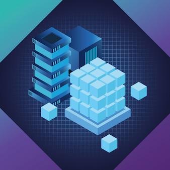 Blaue symbole der digitaltechnik
