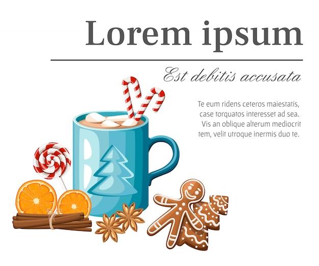 Blaue tasse heißen kakao oder kaffee mit zuckerstange und marshmallows-illustration auf weißem hintergrund mit platz für ihren text